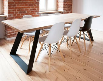 solid oak dining table extended