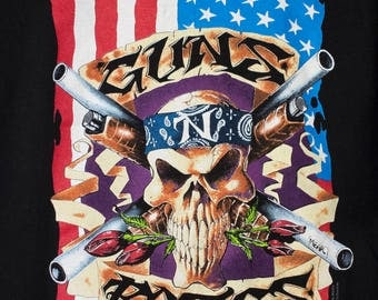 GUNS N ROSES t shirt - vintage - 91-92 illusion tour - american flag - brockum