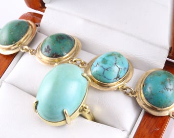 Gold Turquoise Ring Persian Jewelry Statement Ring Vintage Handmade Persia