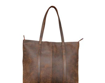 Rustic Leather Tote Bag ,Leather tote,Leather bag, Crazy Horse leather, Women Leather Bags, Leather handbags,shopping bags,Shoulder Bag