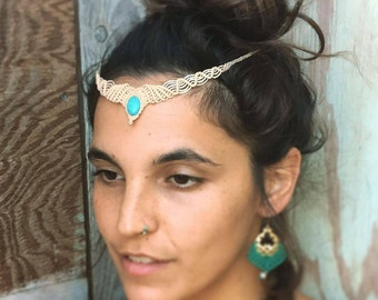MAGICAL Tiara with Turquoise and 14 k gold Filled beads wedding white tribal headband TRIBAL bohemian gipsy jewelry