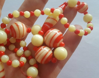 Art Deco Necklace Czech Marbled Glass Beads with Uranium