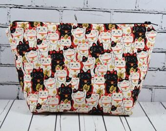 Lucky Japanese Cat Makeup Bag, Maneki Neko Cat Bag