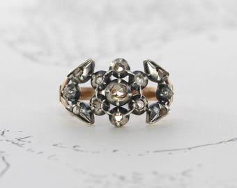 Georgian Rose Cut Diamond Ring, Antique Betrothal Engagement Flower Giardinetti, Circa 1820