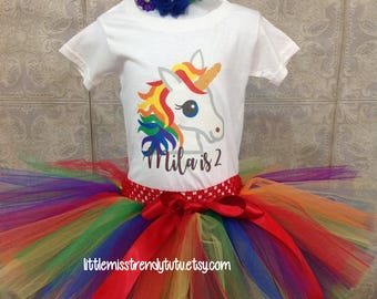 Rainbow Unicorn First Birthday Outfit, First Birthday Tutu Set, Rainbow Birthday Tutu, Rainbow Birthday  Set, Girls Unicorn Birthday Outfit