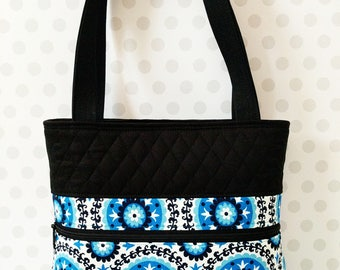 Blue Medallion Shoulder Bag / Cotton Purse / Magnetic Snap Closure