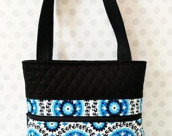 50%OFF Blue Medallion Shoulder Bag / Cotton Purse / Magnetic Snap Closure