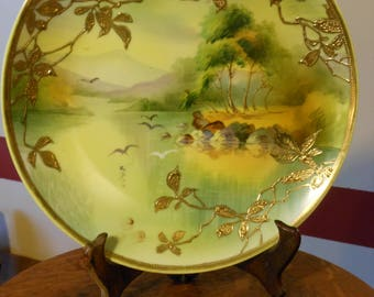 Antique Nippon Hand Painted Gilt Porcelain Plate