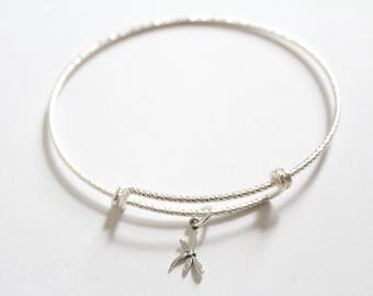 Sterling Silver Bracelet with Sterling Silver Little Dragonfly Charm, Dragonfly Bracelet, Tiny Dragonfly Bracelet, Small Dragonfly Bracelet