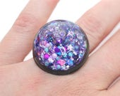 Glitter Liquid Ring Shatter Proof Black Purple Snow Globe Ring Shifting Lava Ring Bold Colored Water Glitter Ring Holographic Stim Jewelry