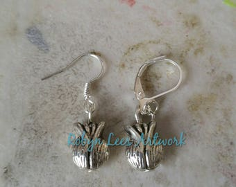 Small Silver Onion or Adult Female Genital Bead Earrings on Silver Earring Hooks or Leverbacks