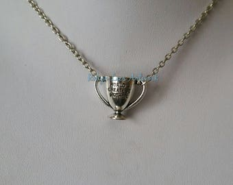 3D Silver World's Greatest Mother Trophy Award Cup Charm Necklace on Silver Crossed Chain. Gift, Mother's Day, Costume
