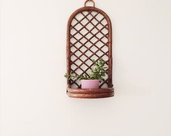 Bamboo Rattan Wicker Wall Shelf