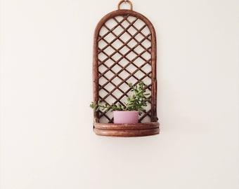 Bamboo  Rattan Wicker Wall Shelf