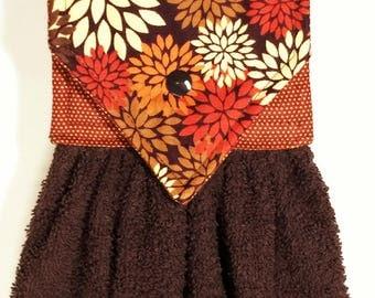 Autumn Mums Hanging Kitchen Towel, Autumn Towel, Brown Kitchen Hand Towel, Fall Hand Towel, Mums Autumn Kitchen Decor, Fall Oven Towel