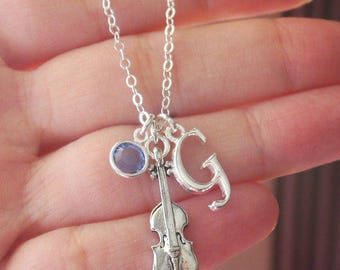 Violin Necklace, Violinist Necklace, Gift for Violin Player, Silver Violin, Letter Birthstone, Initial, Violin, Violinist, Custom, CLCB