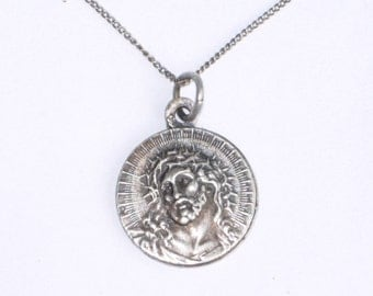 Vintage antique Jesus crown of thorns pendant and chain necklace, religious medal, 835 silver chain, vintage silver jewellery