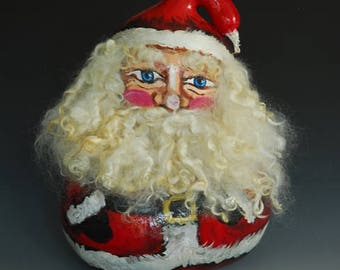 Hand Painted Santa Gourd Art with Mohair