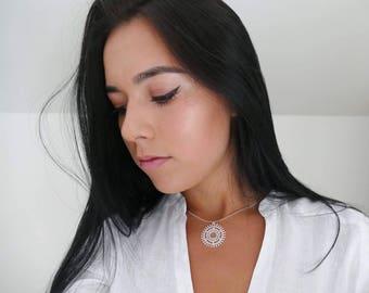 Statement Choker For Her - Delicate Boho Choker - Boho Choker Necklace - Boho Jewelry - Mandala Jewelry - Elegant Necklace - Sterling Silver