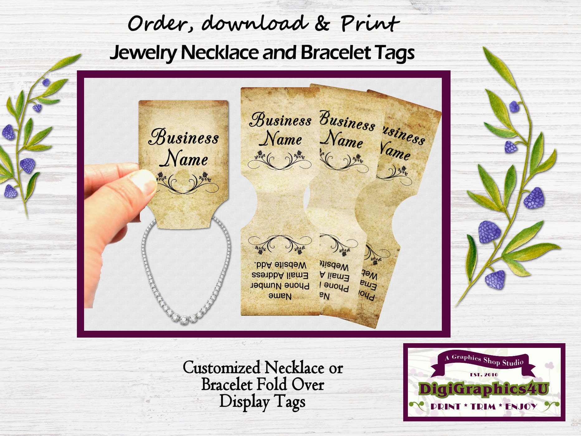 Fold over jewelry tags for necklace or bracelet grunge for Just my style personalized jewelry studio