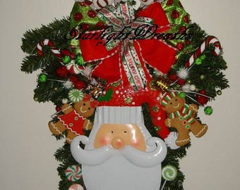 Santa Swag, Christmas Swag, Pine Teardrop Swag, Christmas Decoration, Holiday Wreath, Holiday Swag, Screen Door Decor