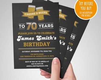 Cheers and Beers Invitation, 70th Surprise Birthday Invitation, 70th Birthday Invitation, 70th Surprise Birthday Invite