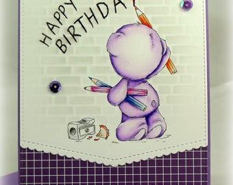 OOAK Hand Made Birthday Card, Teddy Bear, Hand Painted, Original, Cute, Lee Holland