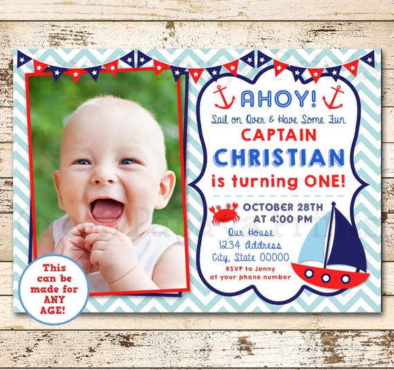 Nautical First Birthday Invitation Sailboat Birthday Invite O
