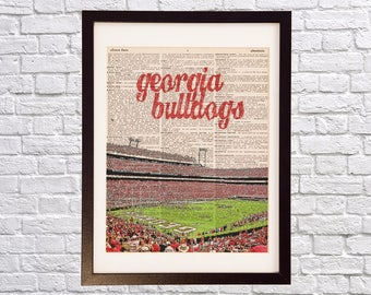 Georgia Bulldogs Dictionary Art Print - Sanford Stadium, Between the Hedges - Print on Vintage Dictionary Paper - Georgia Dawgs, Graduation
