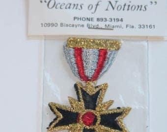 Vintage Maltese Cross Badge Applique, NOS, Original Packaging, Sew-on or Iron-on Applique, Theater, Drama, Crest, Badge