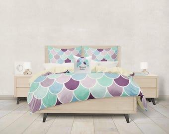 Mermaid Bedding Duvet Cover, Aqua, Mint, Purple ,Comforter Cover, Twin Queen King,