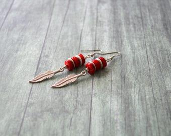 Long Tribal Style Earrings, Red Coral Earrings, Feather Earrings, Gift Under 20 Dollar, Bohemian Earrings, Gift For Her, Boho Earrings, Red.