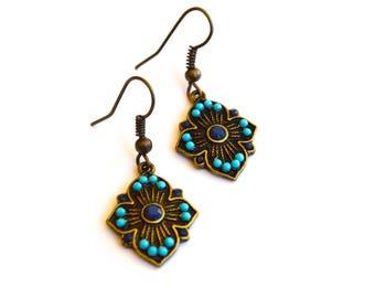 Boho Earrings, Metal And Turquoise Tribal Earrings, Bohemian Jewelry, Gypsy Earrings, Gift For Her, Earrings Under 15 Dollar, Turquoise.