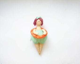 Beach Gal - Cloth doll - Tilda style doll