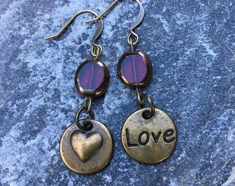 red Czech glass Love charm boho accessories red hypoallergenic earrings hippie yoga bohemian earrings dangle transparent red earrings