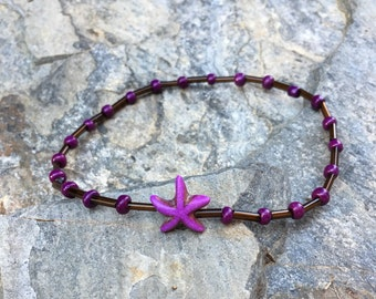 Starfish anklet starfish purple stone starfish brown beaded anklet women's stretch bracelet Czech glass women's anklet gift for her