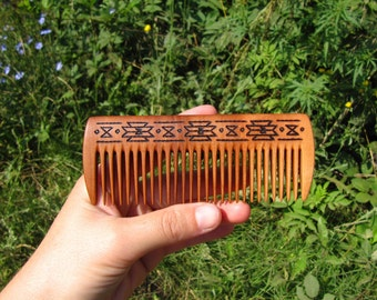 Wooden Hair Comb Apple Natural Wood Linseed Oil Men Hair Accessories Handmade Pyrography BastianArtAccessories FREE SHIPPING WORLDWIDE