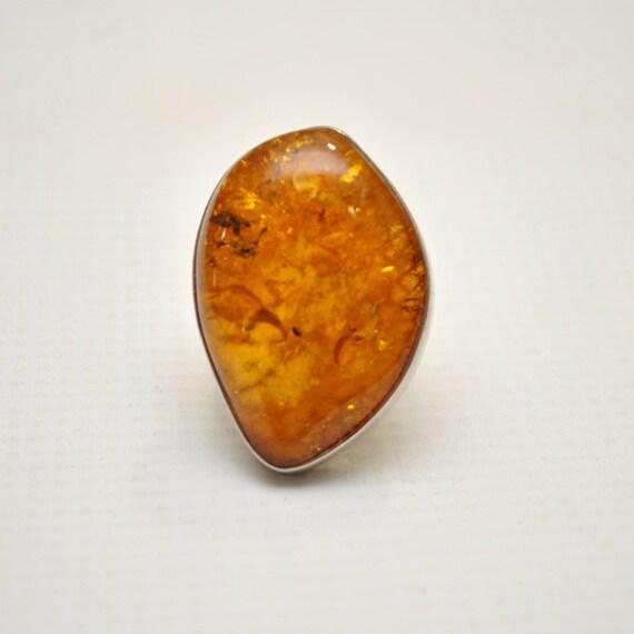 Sterling Silver Honey Amber Sz 8.5 Ring #9296