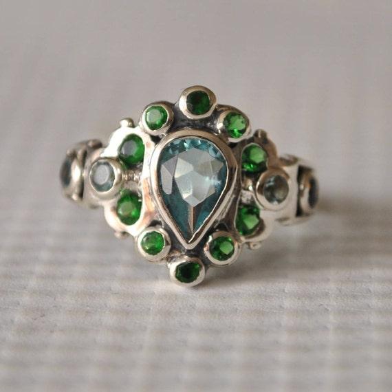 Sterling Silver Emerald Aquamarine Art Nouveau Ring Sz 6  #9750