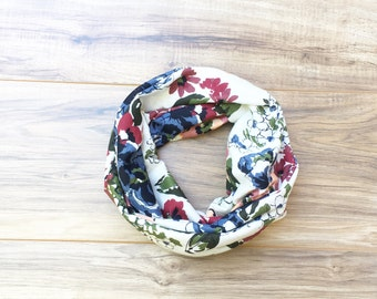 Baby Toddler Child Infinity Scarf - Watercolor Floral on White- READY TO SHIP
