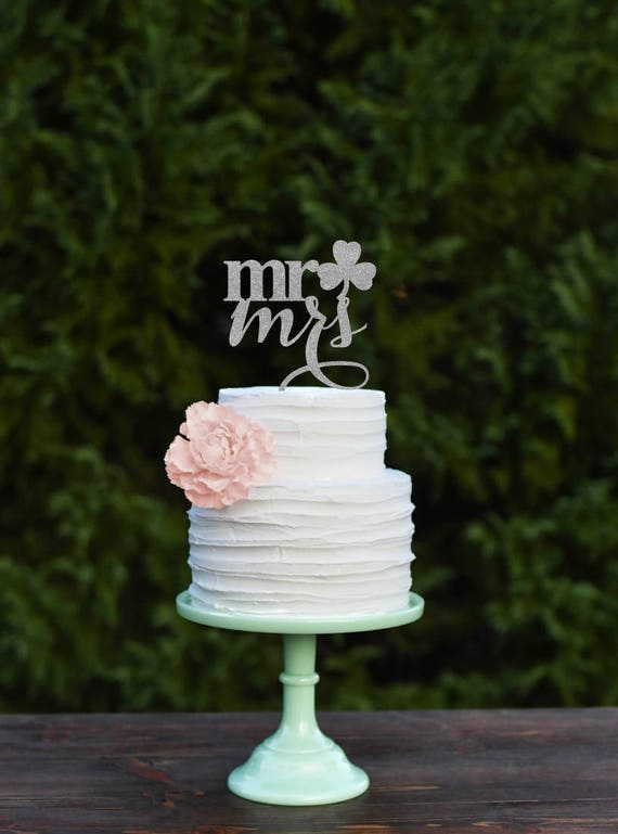 Wedding Cake Topper Shamrock Mr And Mrs