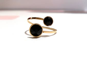 ring with 2 swarovski stones plated Louise