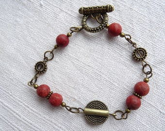 Brass Bracelet with Red Coral and Brass Beads