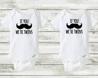 twins onesie set, Mustache twin onesies, If you mustache we're twins, funny twin onesie, onesies for twin boys