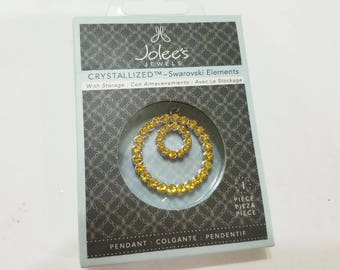 Swarovski, Crystal, Jolee's Jewels, Circle in Circle, Light Topaz, Yellow, NIB, November, Pendant, Jewelry, Beading, Supply, Supplies