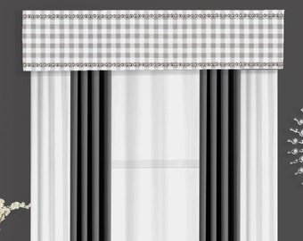 Custom Nailhead Plaid Cornice Board Pelmet Box Valance Window Treatment in Storm Gray and White Check Fabric - Silver Nail Head