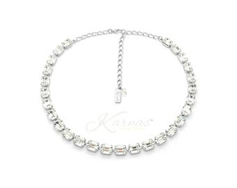 LUXURIANT 8-10MM KDS Emerald Cut Necklace Made With Swarovski Crystal *Rhodium Silver *Karnas Design Studio *Free Shipping
