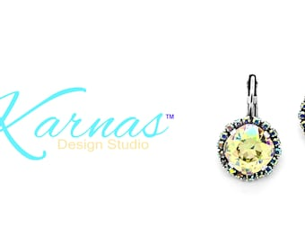 PIECES OF AUTUMN 12mm Crystal Ab Halo Drop Leverback Earrings Swarovski Crystal *Antique Silver *Karnas Design Studio™ *Free Shipping*