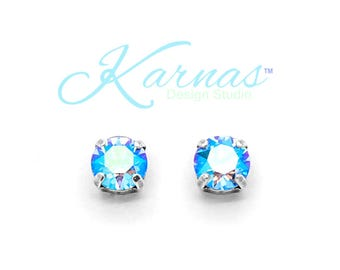 LIGHT SAPPHIRE SHIMMER 8mm Earrings Made With Swarovski Crystal *Choose Finish & Style *Karnas Design Studio™ *Free Shipping
