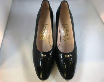 Vintage Ferragamo black patent pumps, size 6-1/2 AA or 36.5 AA